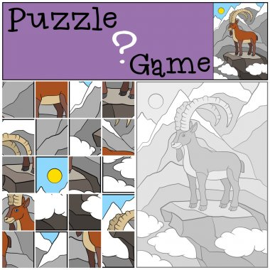 Education game: Puzzle. Cute ibex with great horns smiles.
