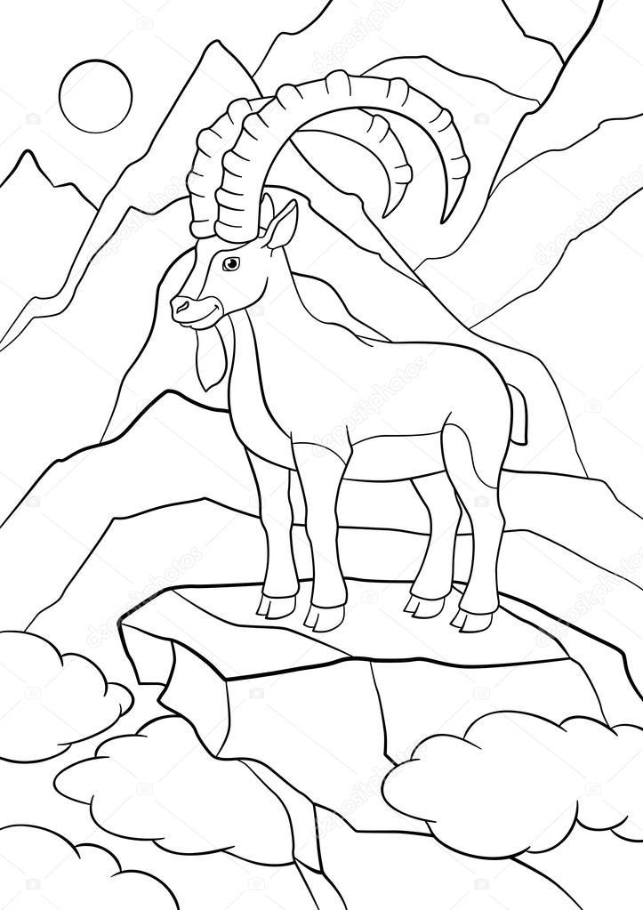 Dibujos para colorear. Lindo ibex con grandes cuernos — Archivo ...