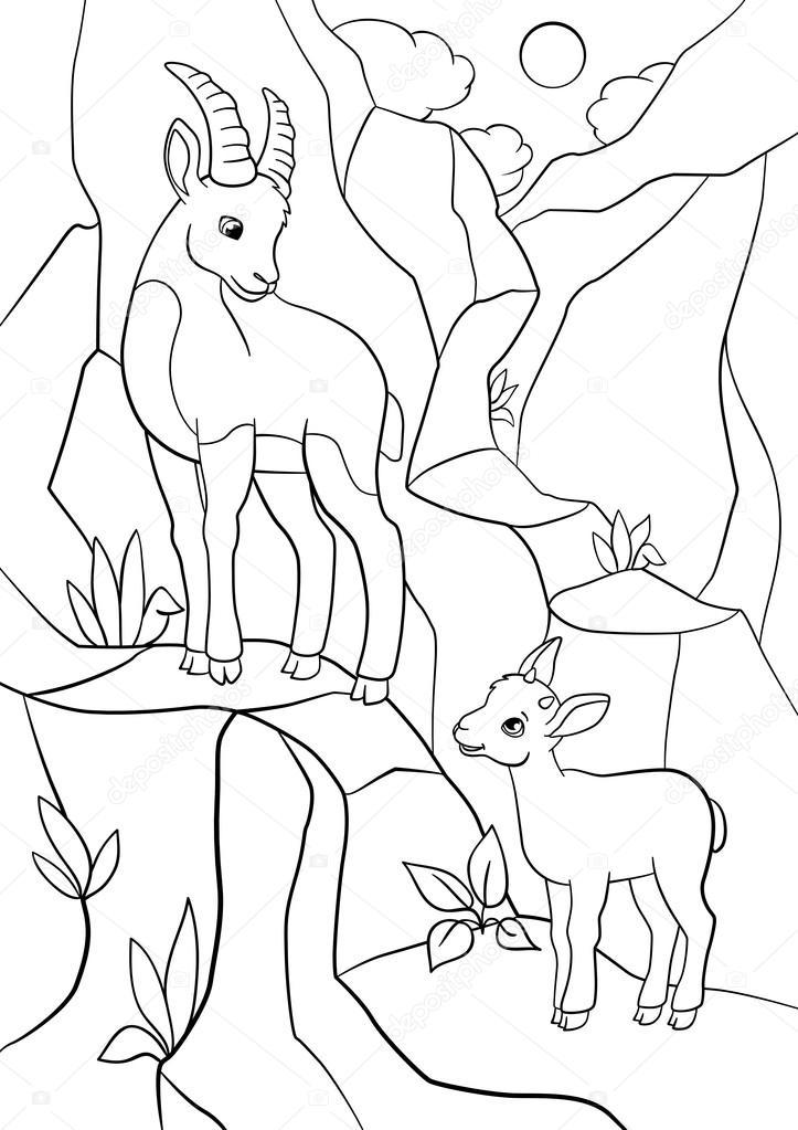 Dibujos para colorear. Ibex madre con su pequeño bebé lindo ...