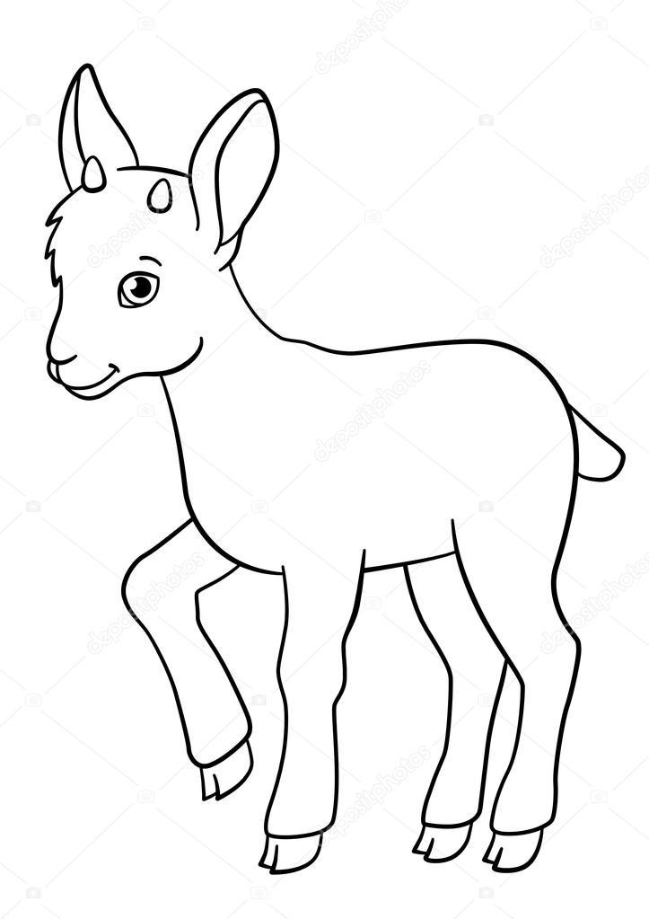Dibujos para colorear. Sonrisas de ibex de lindo bebé poco — Archivo ...