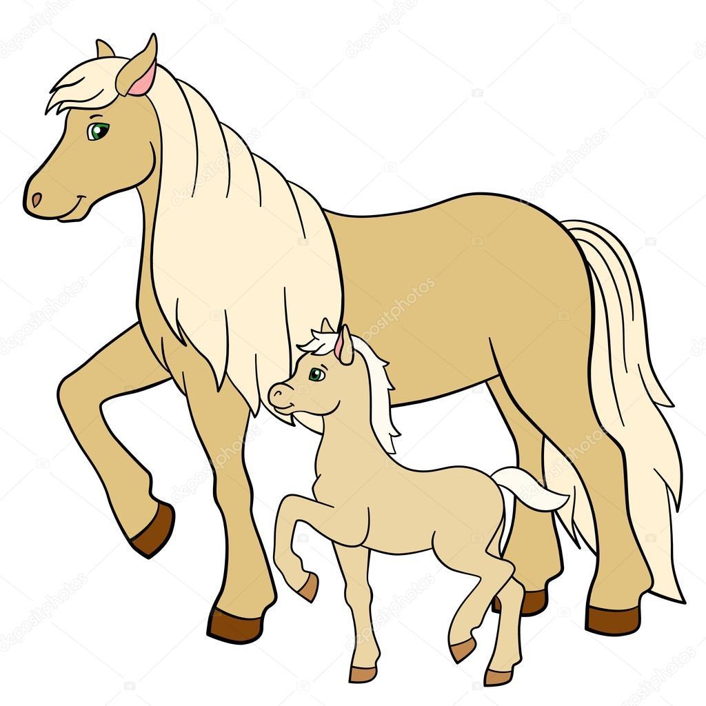cartoon farm animals mother horse with her foal u2014 stock vector