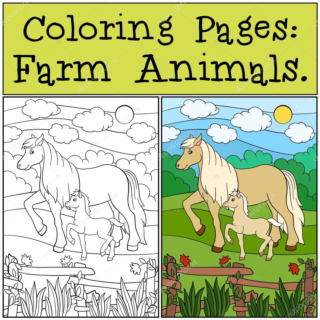 Coloring Pages: Farm Animals. Mother horse with her foal. — Stock ...