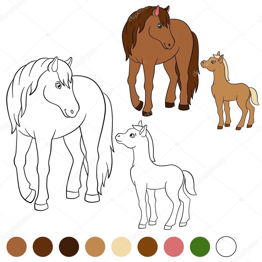 Página para colorear. Color me: caballo. Madre caballo con potro ...