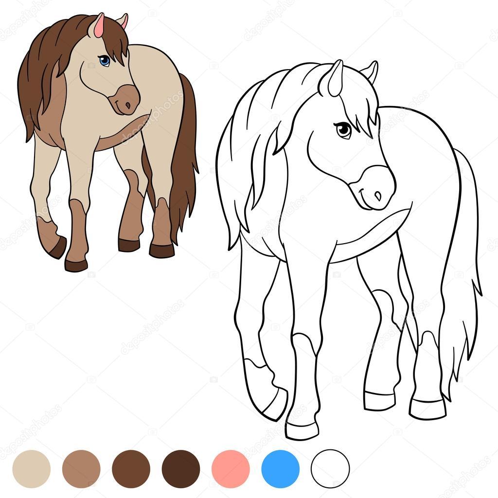 Malvorlagen. Color me: Pferd. Nettes Pferd — Stockvektor © ya-mayka ...