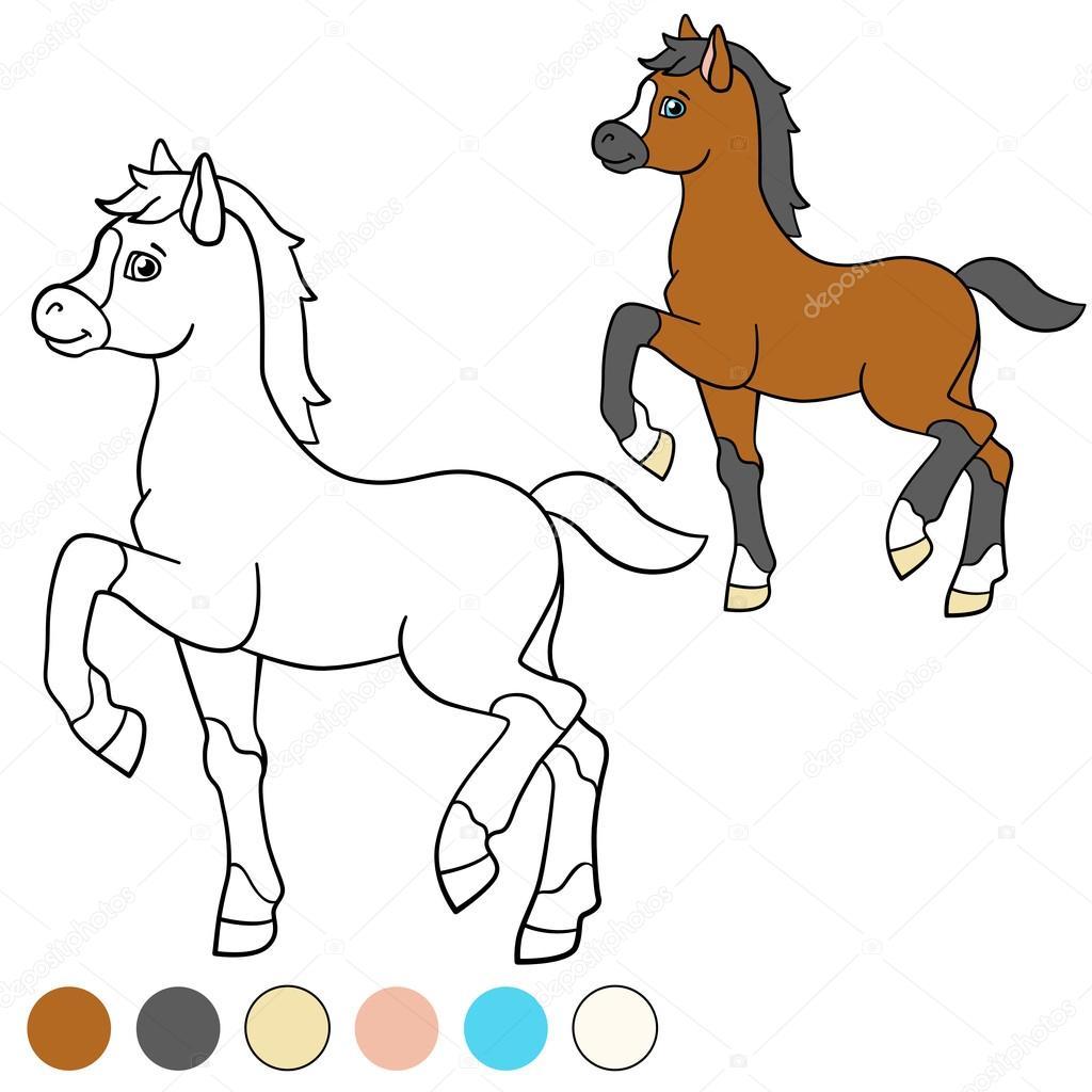Malvorlagen. Color me: Pferd. Kleine süße Fohlen — Stockvektor © ya ...