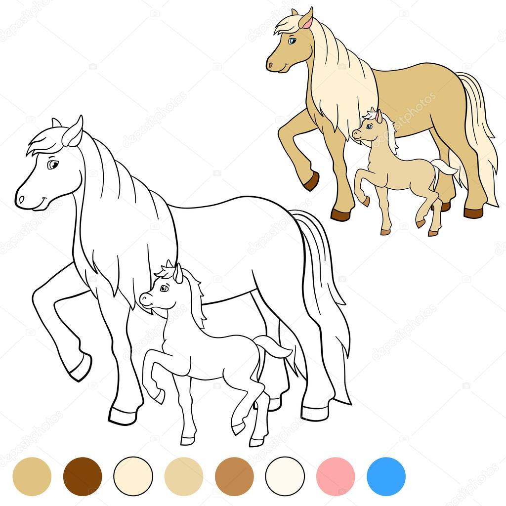 Kleurplaat Kleur Me Paard Moeder Paard Met Veulen