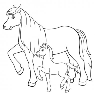 Coloring pages. Farm animals. Mother horse with foal.