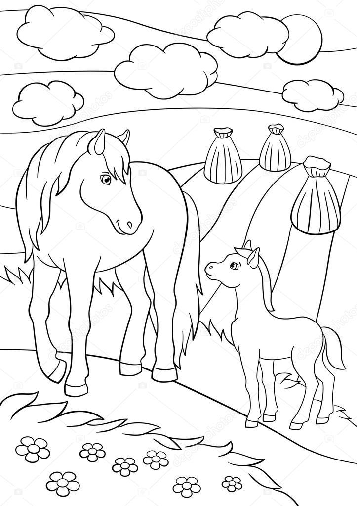 Dibujos para colorear. Animales de granja. Madre caballo con potro ...