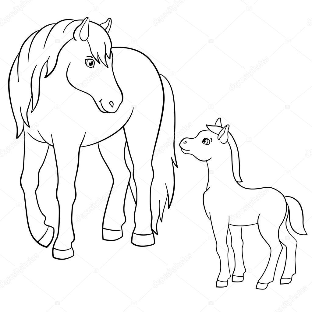 Malvorlagen. Nutztiere. Mutter Pferd mit Fohlen — Stockvektor © ya ...