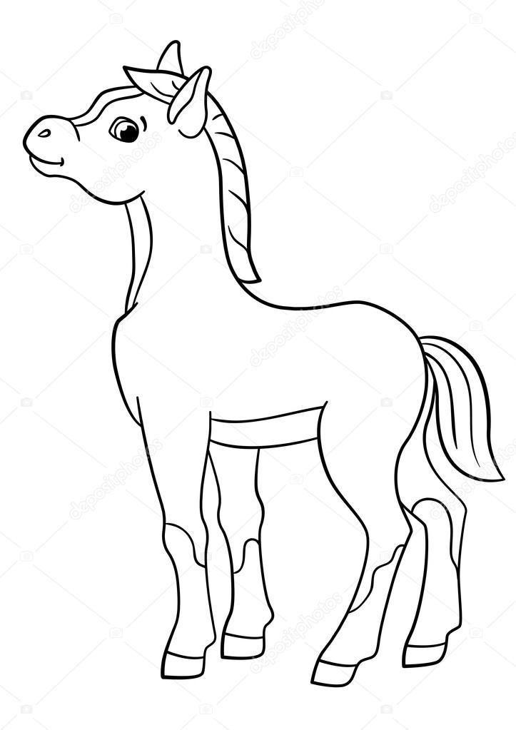 Dibujos: potros para colorear | Dibujos para colorear. Animales de