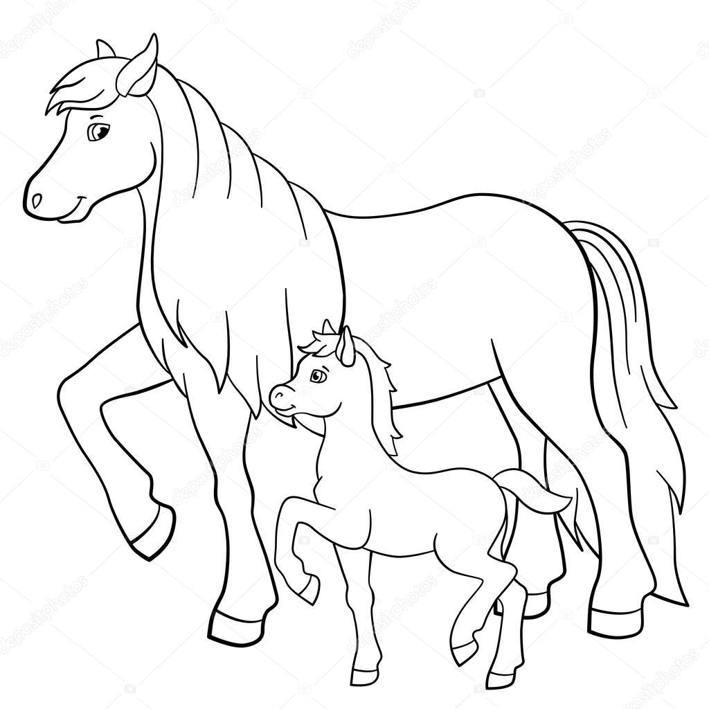 kleurplaten boerderijdieren moeder paard met veulen