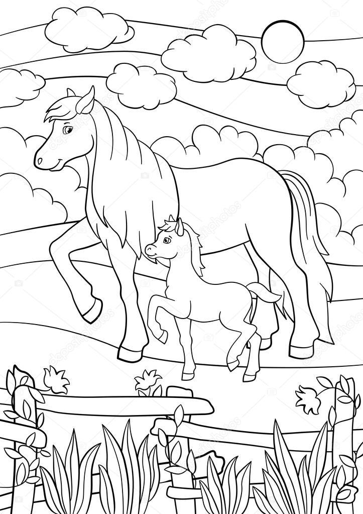 Boyama Sayfaları çiftlik Hayvanları Tay Ile Anne At Stok Vektör