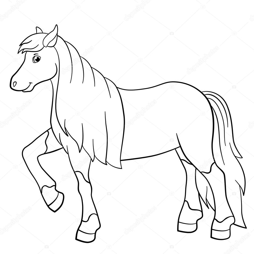 Coloring pages. Farm animals. Cute horse. — Stock Vector © ya-mayka ...