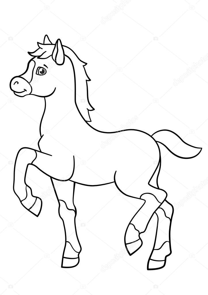 Coloring pages. Farm animals. Little cute foal. — Stock Vector © ya ...