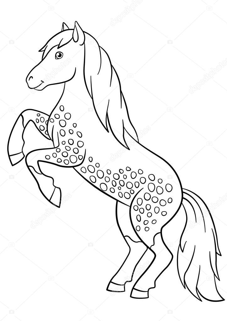 kleurplaten boerderijdieren mooi paard stockvector