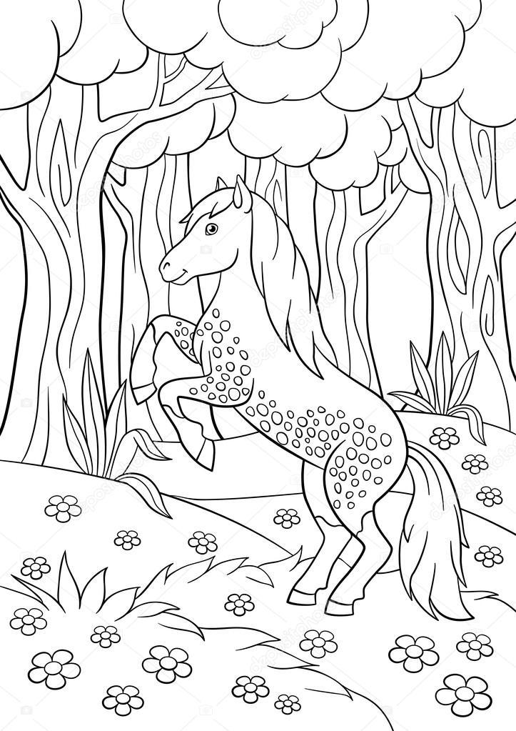 Dibujos Para Colorear Animales De Granja Hermoso Caballo Vector