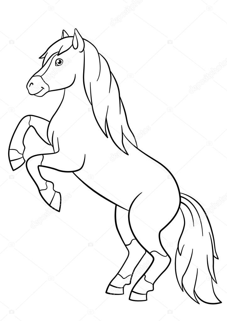 Dibujos para colorear. Animales de granja. Hermoso caballo — Vector ...