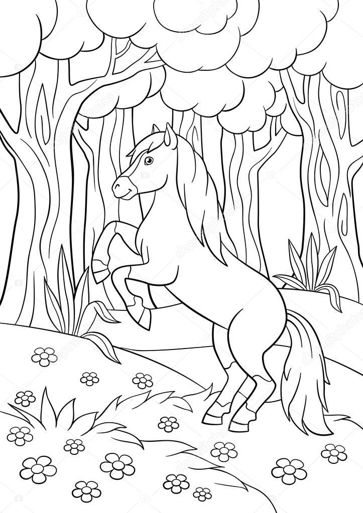 Dibujos para colorear. Animales de granja. Hermoso caballo — Archivo ...