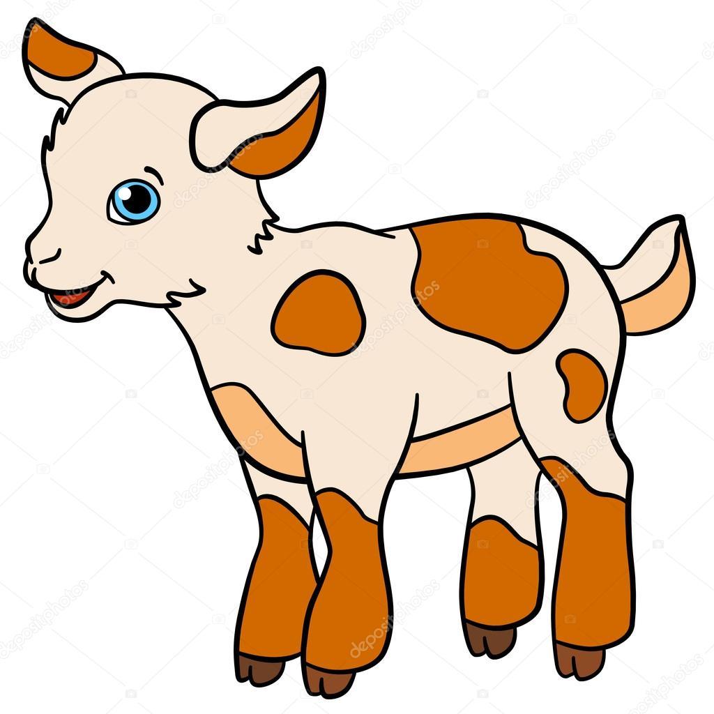 Dibujos animados animales de granja para niños. Chivo pequeño lindo ...