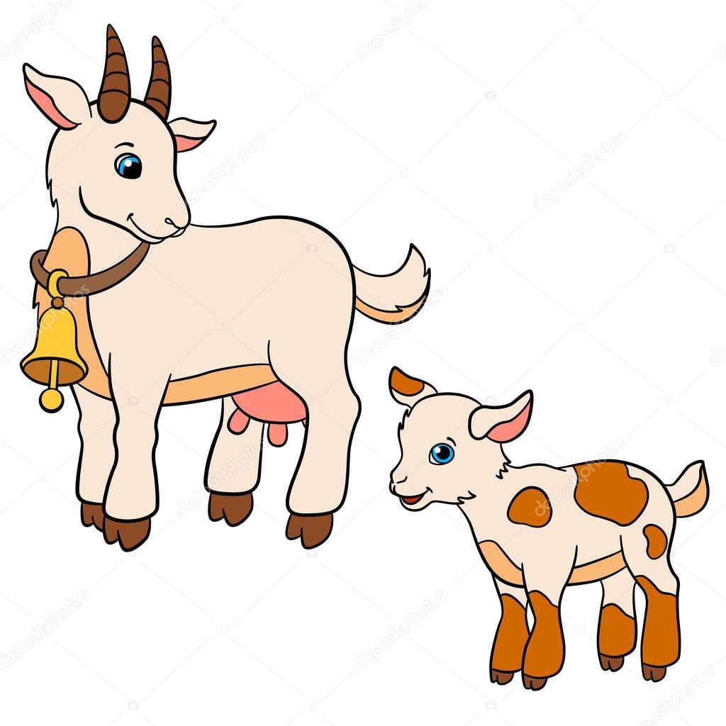 Dibujos animados animales de granja para niños. La cabra madre mira ...