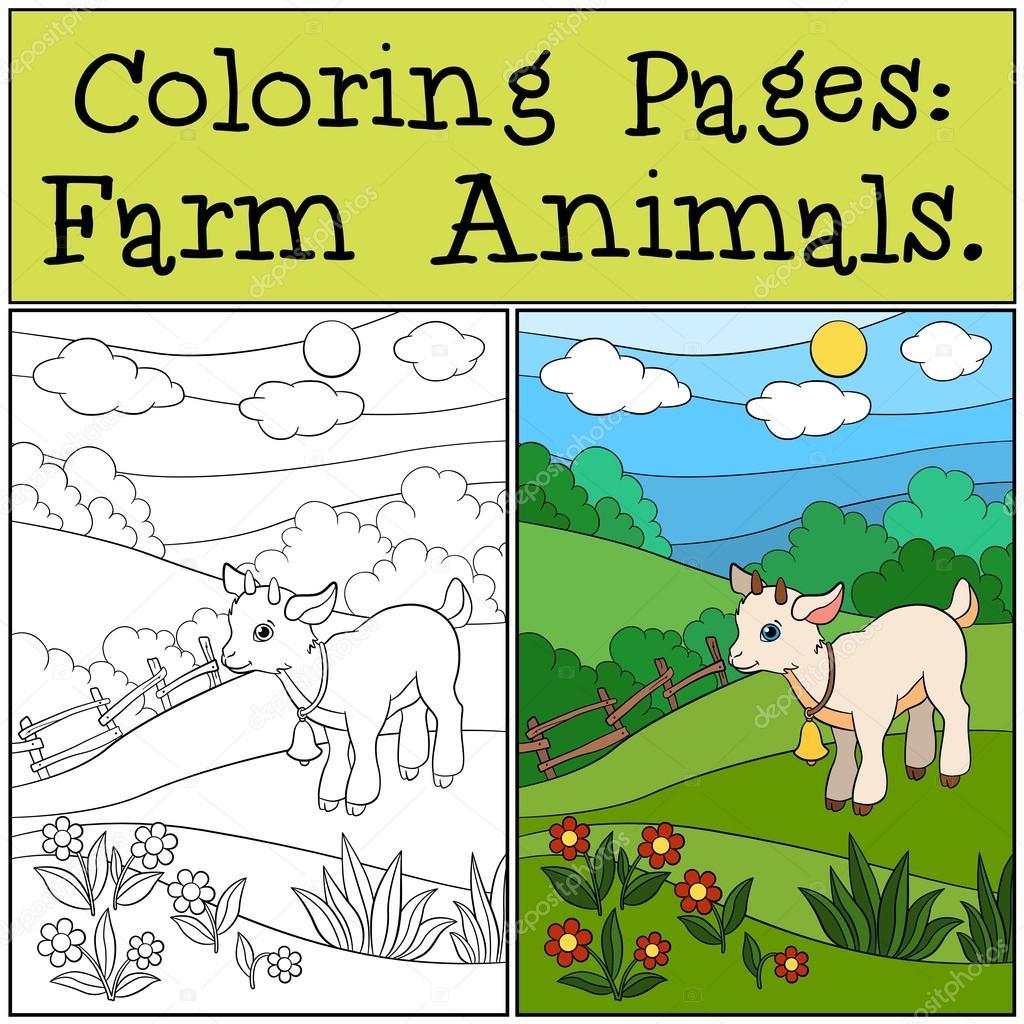 Dibujos para colorear: Animales de granja. Chivo pequeño lindo bebé ...