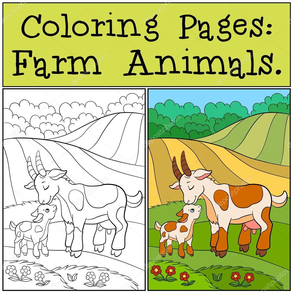 Dibujos para colorear: Animales de granja. Mamá cabra con su bebé ...