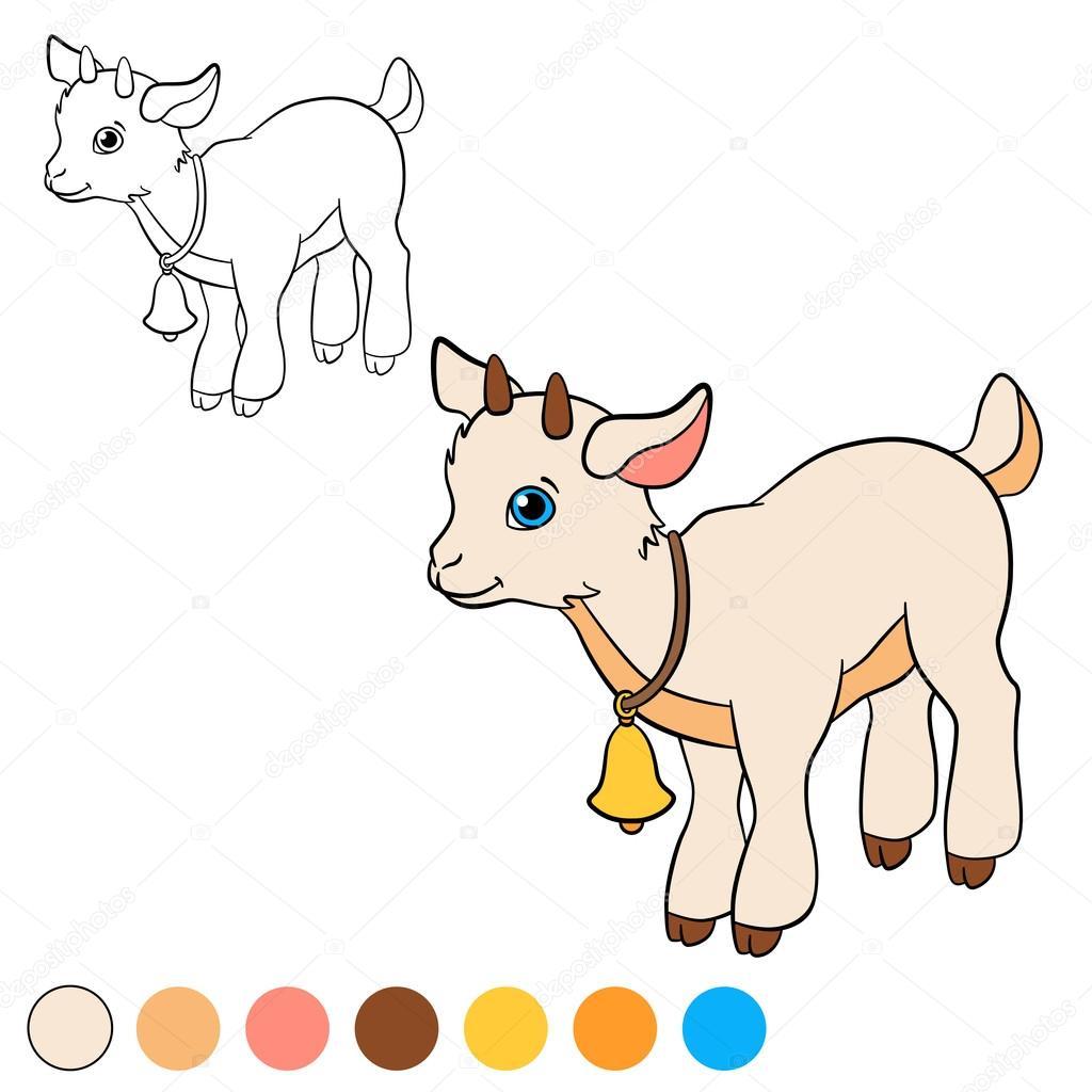 Malvorlagen. Color me: Ziege. Kleine niedliche Baby-Ziege ...
