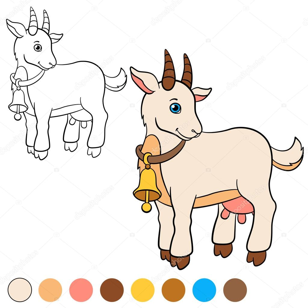 Malvorlagen. Color me: Ziege. Süße Ziege — Stockvektor © ya-mayka ...