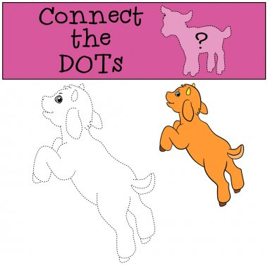 Educational games for kids: Connect the dots. Little cute goat