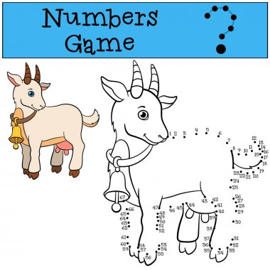 Educational games for kids: Numbers game. Cute goat.