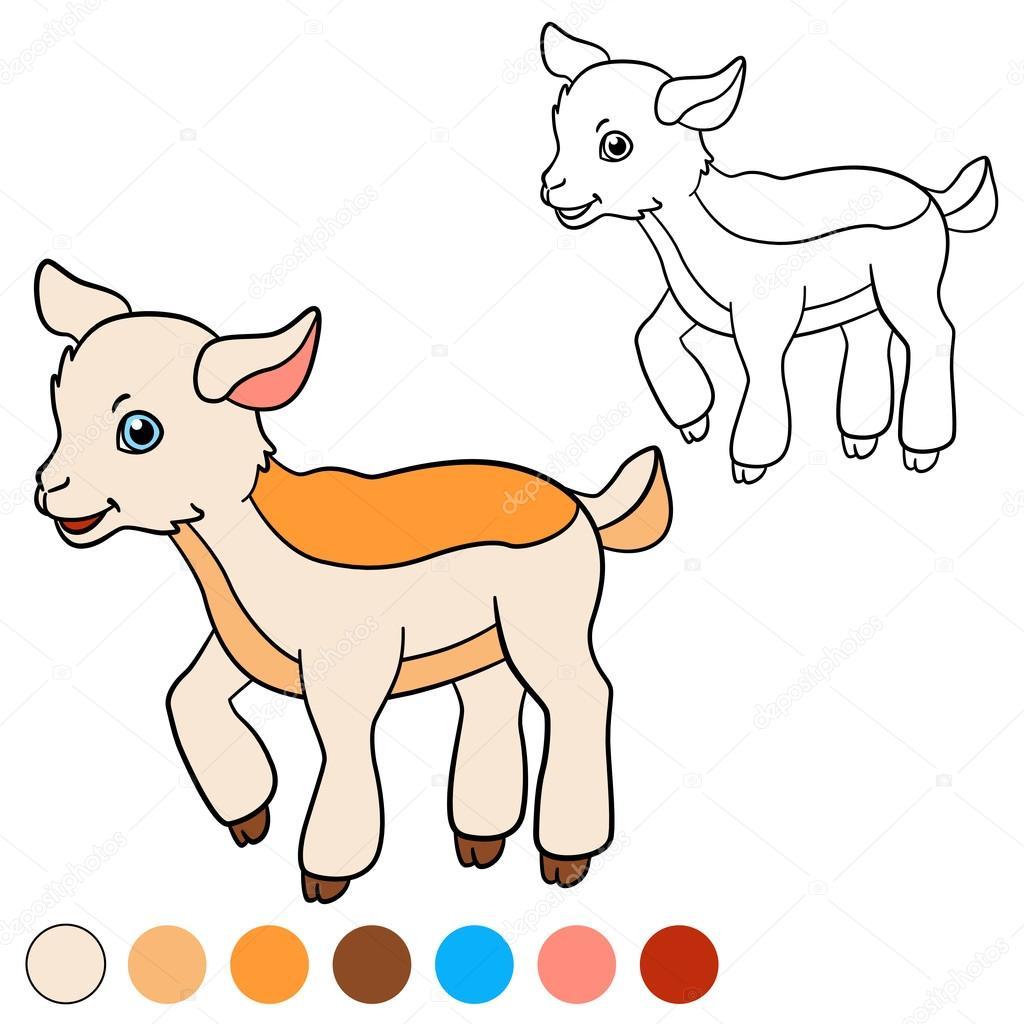 Página para colorear. Color me: cabra. Chivo pequeño lindo bebé ...