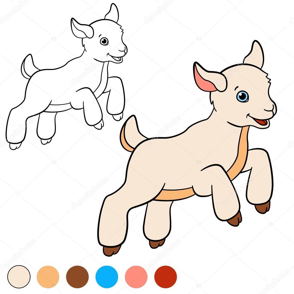 kleurplaat kleur me geit kleine schattige baby geit