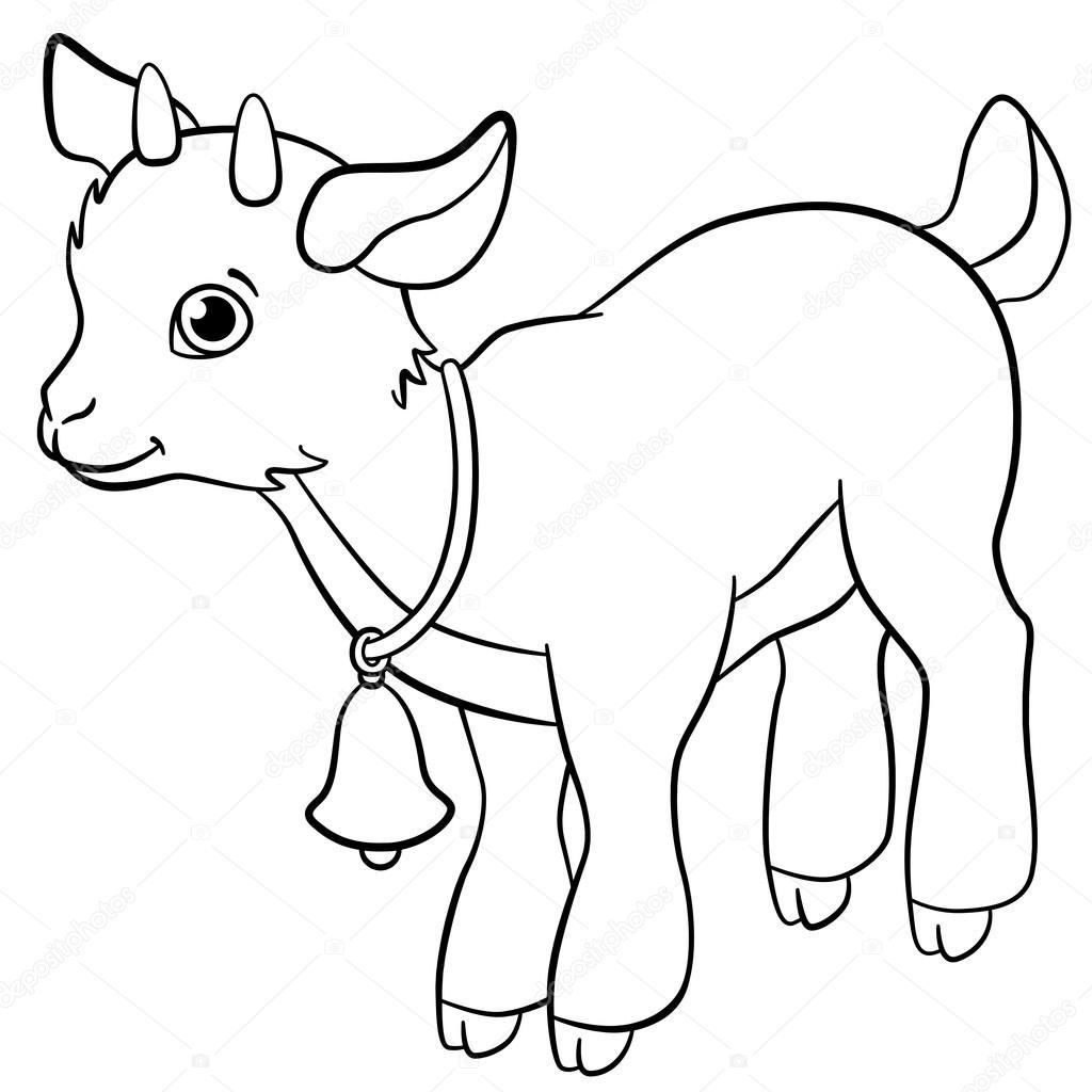 Dibujos para colorear. Animales de granja. Poco cabrito lindo ...