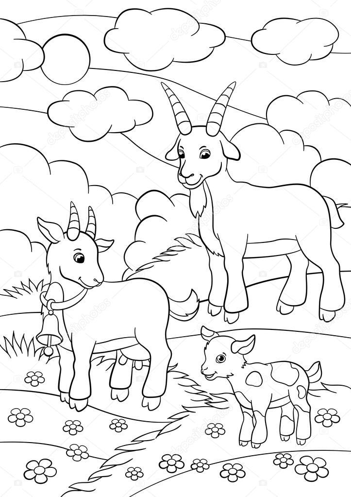 Boyama Sayfaları çiftlik Hayvanları Keçi Aile Stok Vektör Ya