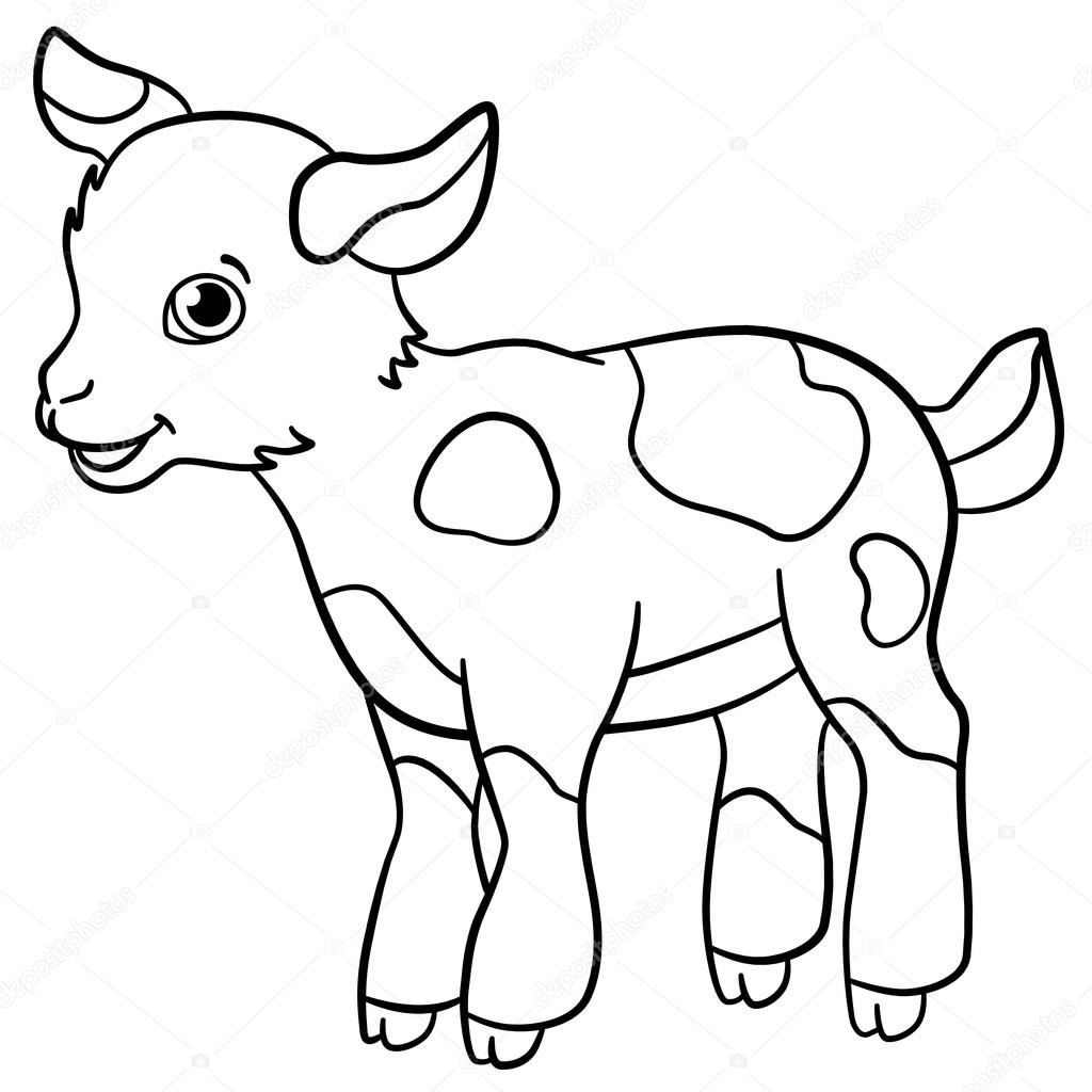 Coloring pages. Farm animals. Little cute goatling smiles. — Stock ...