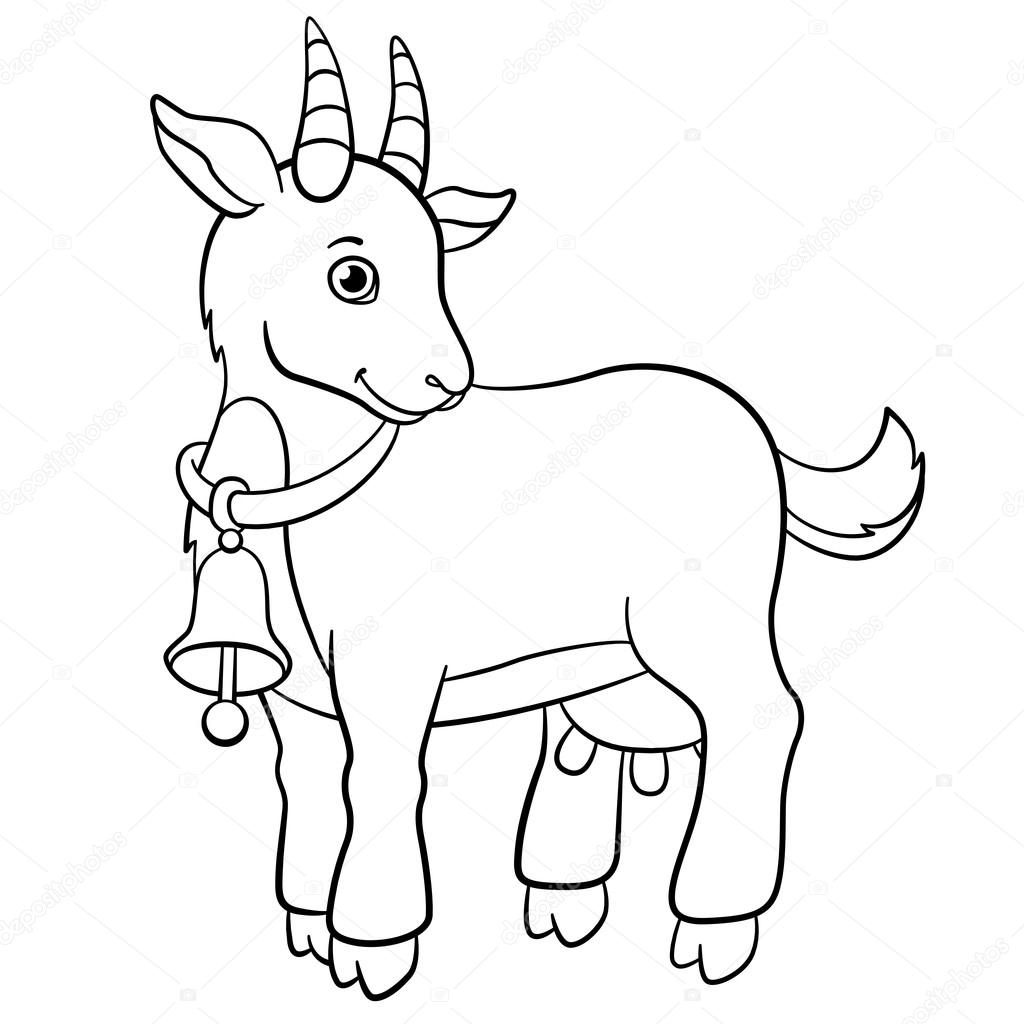 Coloring pages. Farm animals. Little cute goat smiles. — Stock ...