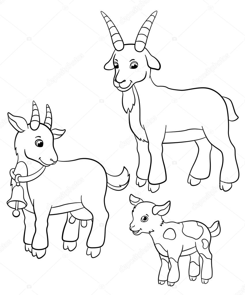 Goat #60 (Animals) – Printable coloring pages | 1024x850