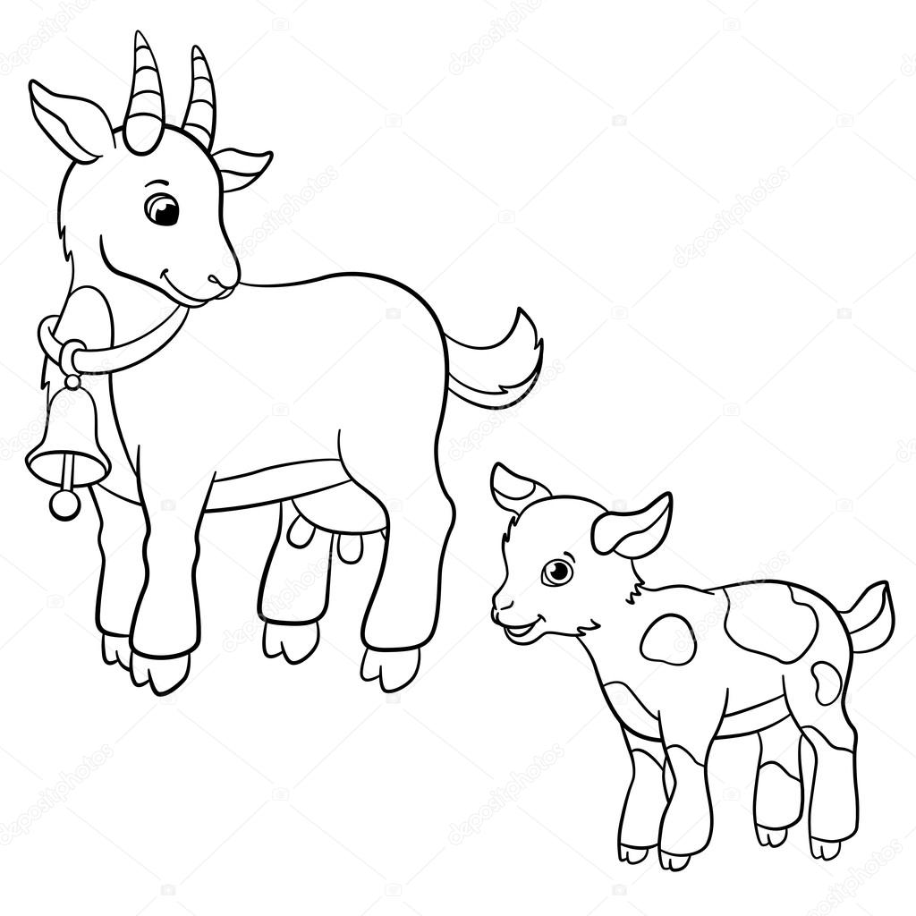coloring pages farm animals cute mother goat with goatling