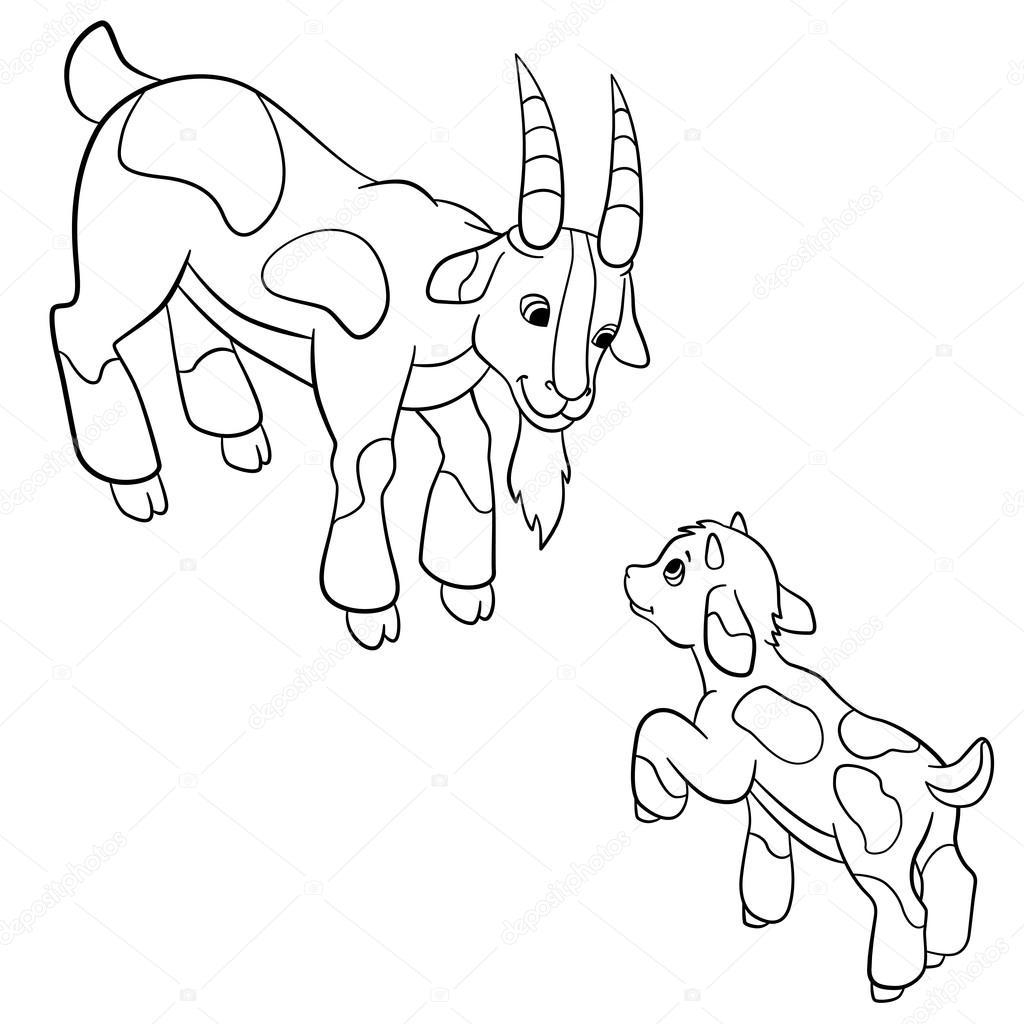 Malvorlagen. Nutztiere. Vater Ziege schaut seine Zicklein ...