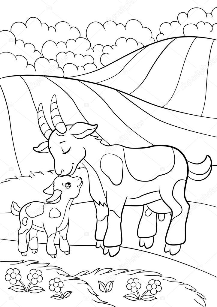 Disegni da colorare animali da fattoria mamma capra con for Piani di piccola fattoria avvolgono portico