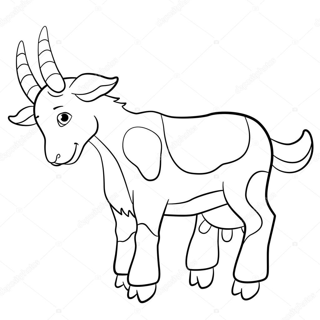 Dibujos para colorear. Animales de granja. Lindo chivo — Vector de ...