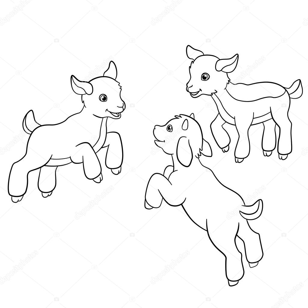 Coloring pages. Farm animals. Little cute doatlings. — Stock Vector ...