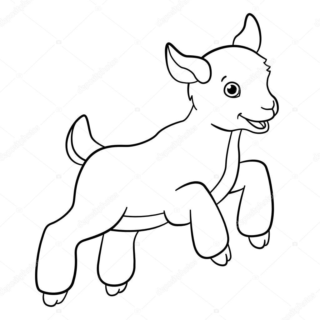 Dibujos para colorear. Animales de granja. Poco cabrito lindo salta ...