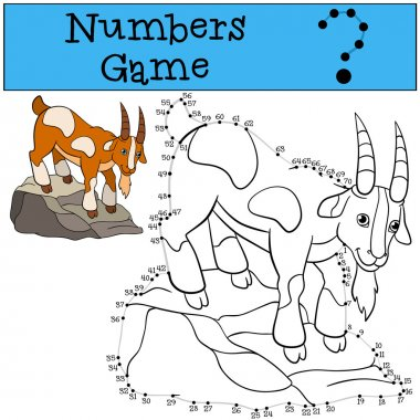 Educational games for kids: Numbers game with contour. Goat.