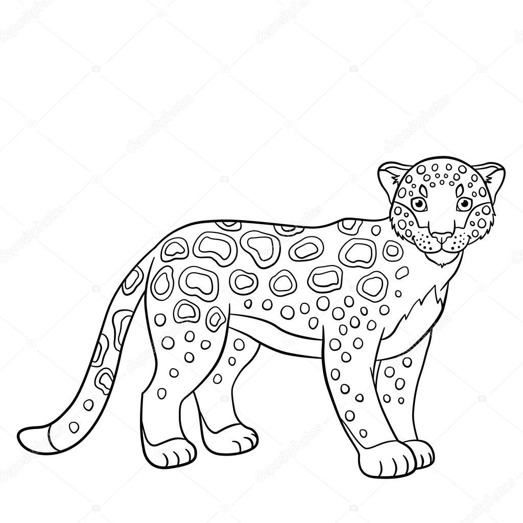 Dibujos para colorear. Sonrisas de lindo jaguar manchado — Vector de ...