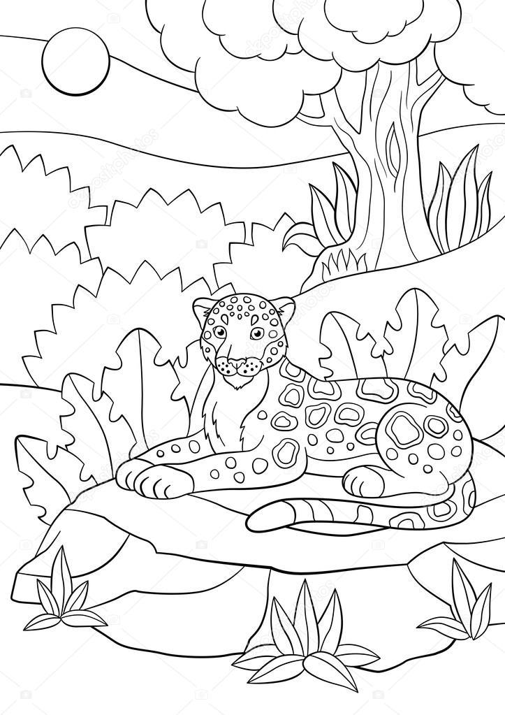 Dibujos para colorear. Lindo jaguar manchado en el bosque — Vector ...