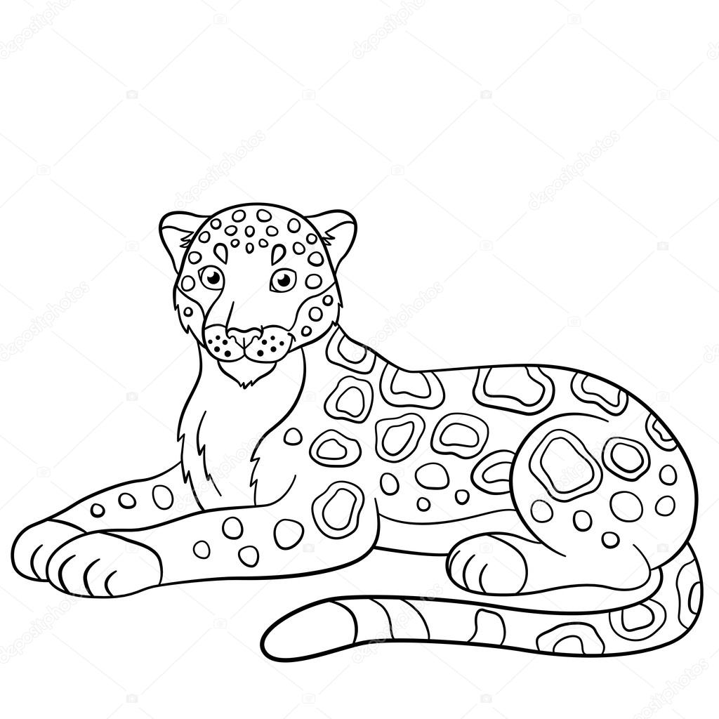 Coloring Pages Cute Jaguar Smiles Stock Vector Ya Mayka 116838402