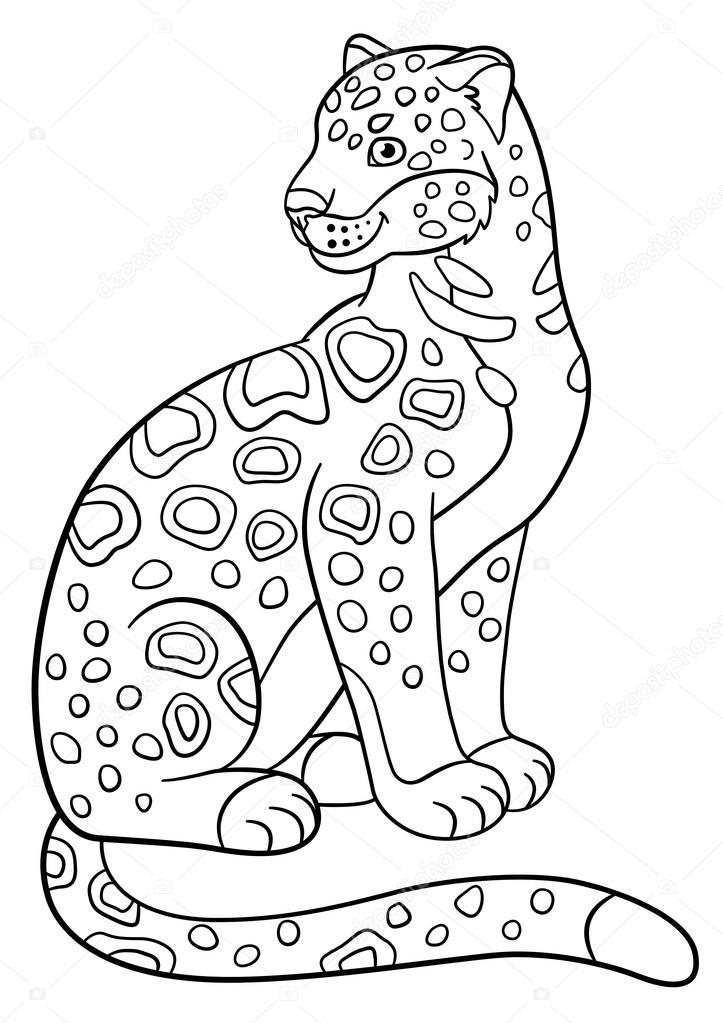 Boyama Sayfaları şirin Benekli Jaguar Gülümsüyor Stok Vektör Ya