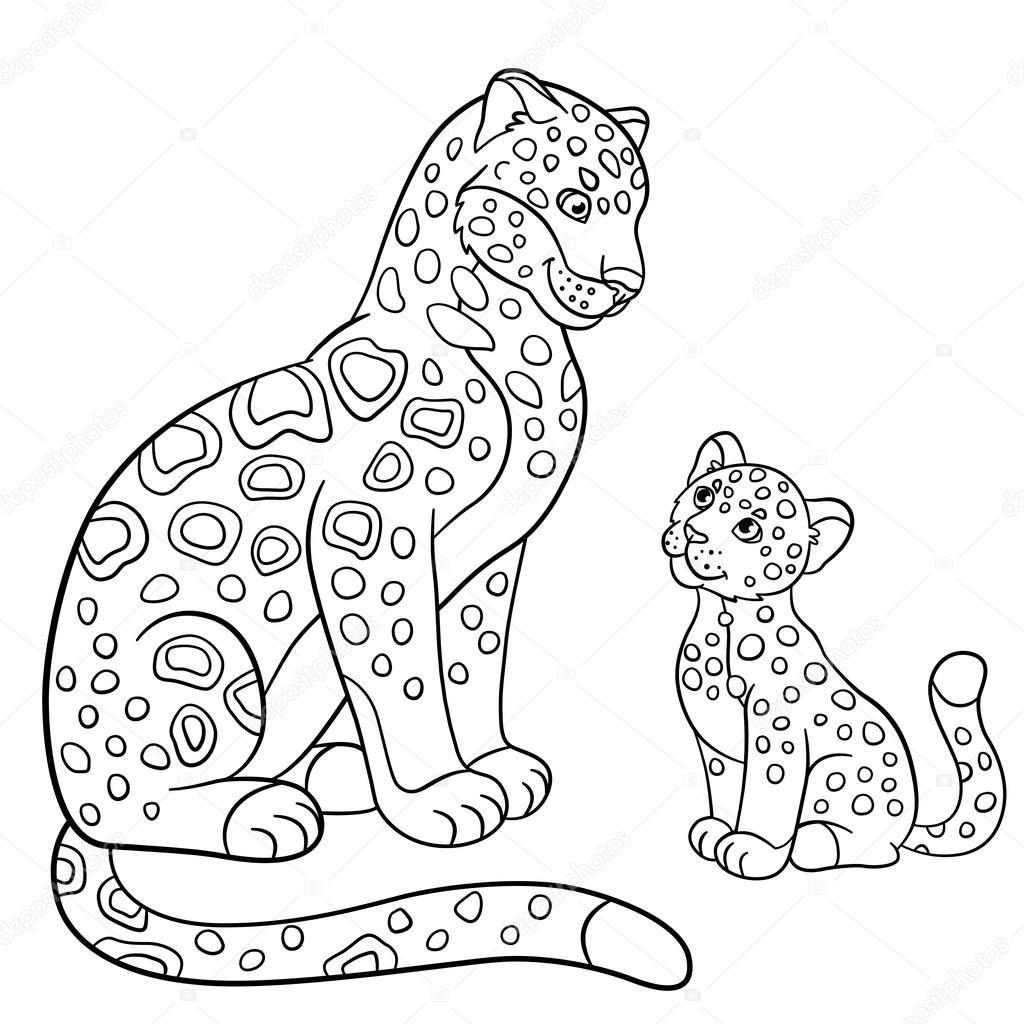 Dibujos para colorear. Madre jaguar con su cachorro pequeño — Vector ...