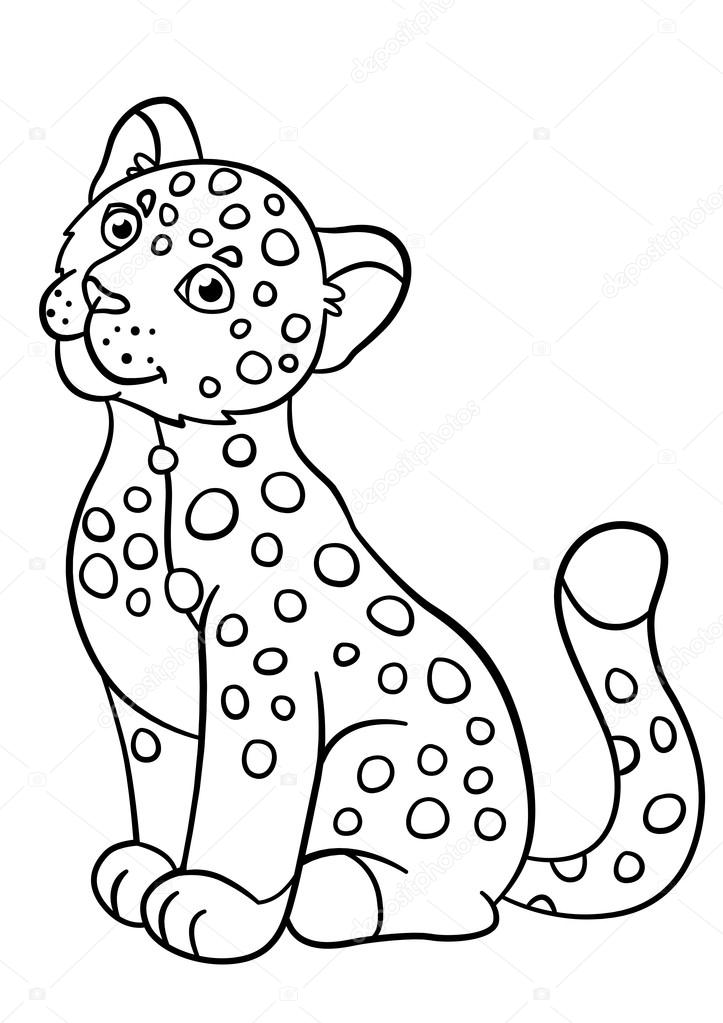 Coloring pages. Little cute baby jaguar smiles. — Stock Vector © ya ...